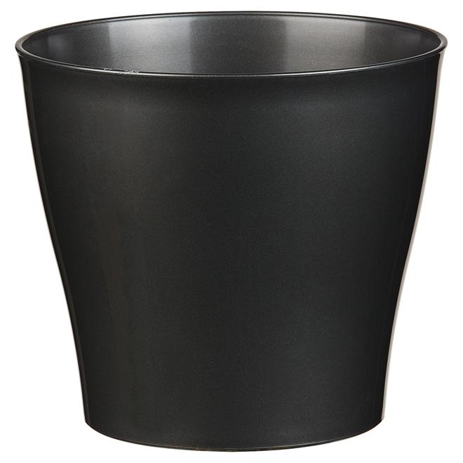 Cache-pot en plastique, 6,6 po, noir