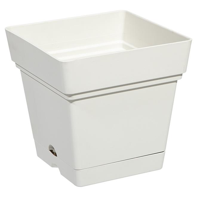 """Jardinière carré avec soucoupe, 7"""", blanc perlé"""