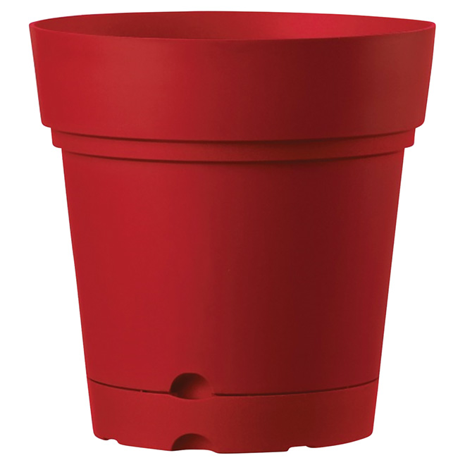 Deroma Planter with Saucer - Indoor and Outdoor - 8.6-in - Red