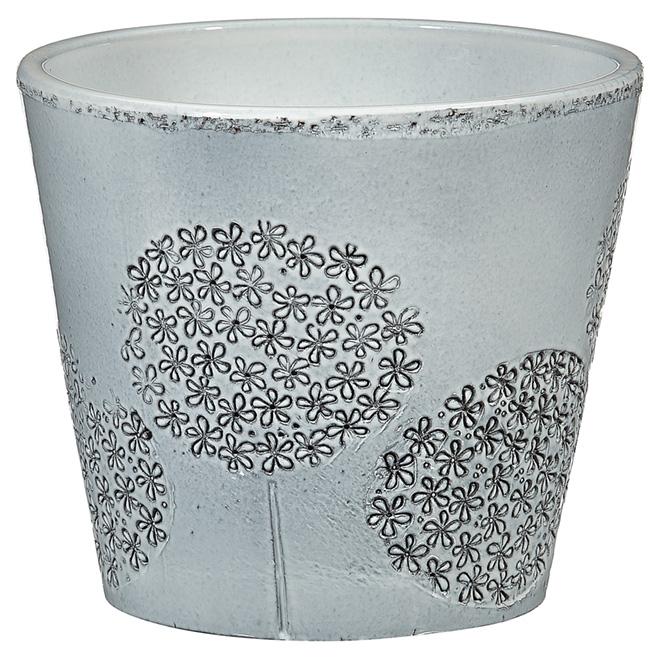 """Cache-pot en céramique, 707, 6"""", gris blanc"""