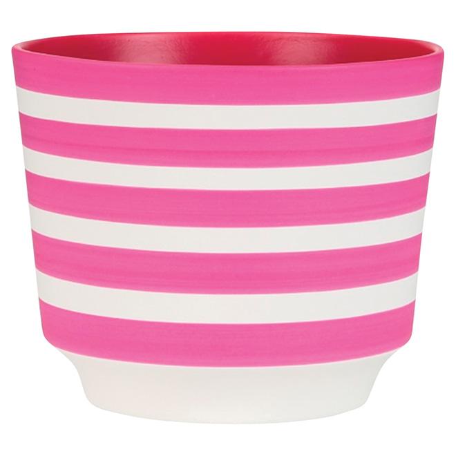 "Cache-pot en céramique, 831, 5 1/2"", rayures roses"