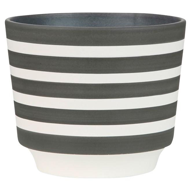 """Cache-pot en céramique, 831, 5 1/2"""", rayures grises"""