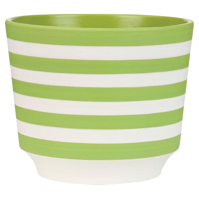"""Cache-pot en céramique, 831, 5 1/2"""", rayures vertes"""