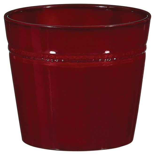 """Cache-pot en céramique, 6"""", rouge foncé"""