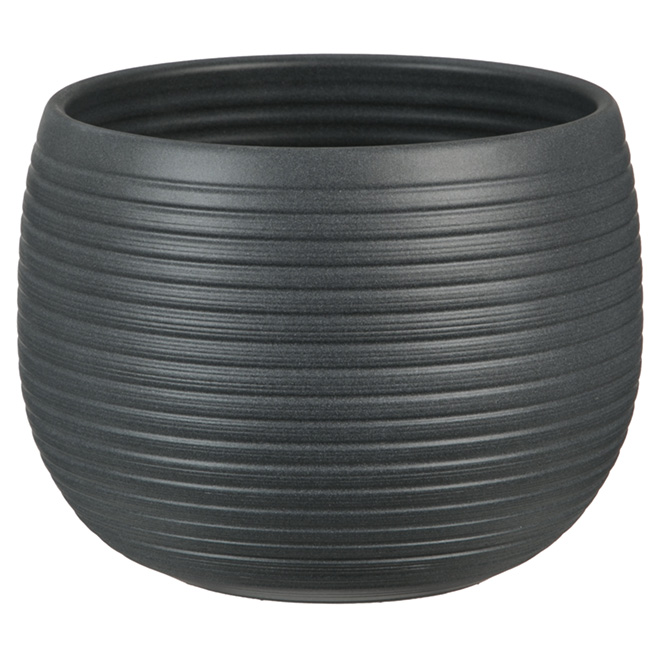 "Ceramic Cover Pot - 744 - 6 1/4"" - Anthracite"