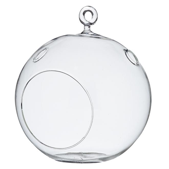 """Vase sphérique suspendu en verre transparent, 6,5"""""""