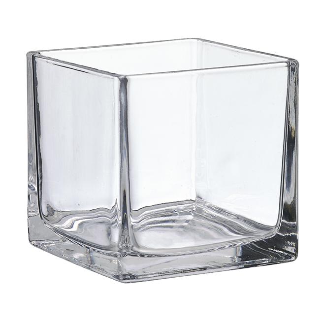 """Vase cubique en verre transparent, 5"""""""