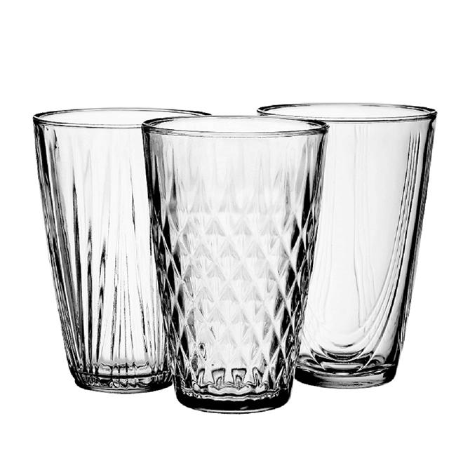 """Vases classiques en verre transparent, 10"""", motif assorti"""