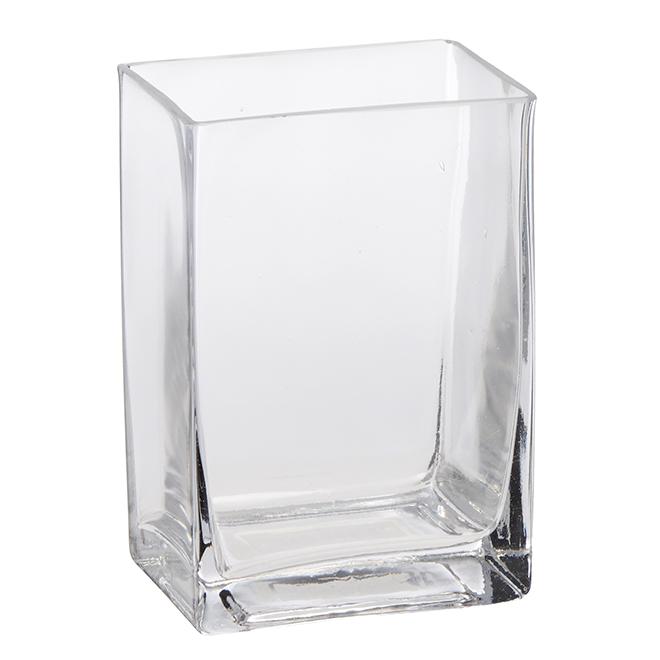 """Vase à base carrée en verre transparent, 6"""""""