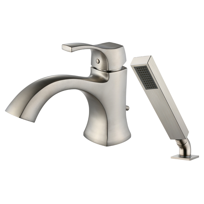 Roman Bath Faucet with Hand Shower - Brushed Nickel