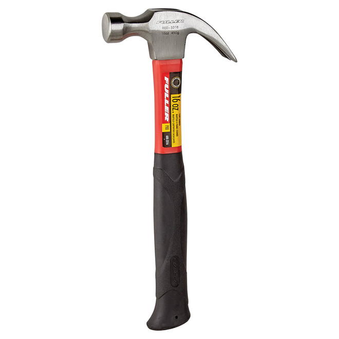 Curved-Claw Hammer with Fibreglass Handle - 16 oz
