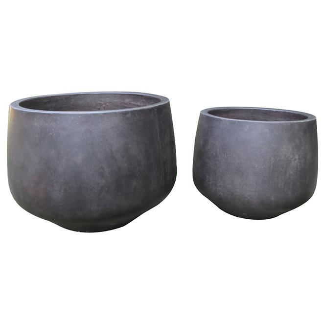 Jardinières rondes en ciment, brun antique, jeu de 2