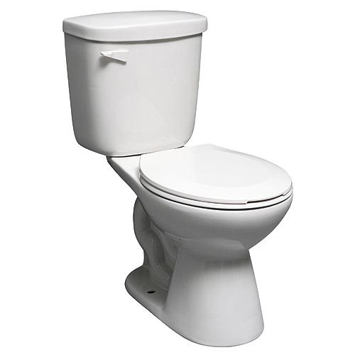 Toilette 2 pièces à cuve ronde, 4.8 l, blanc