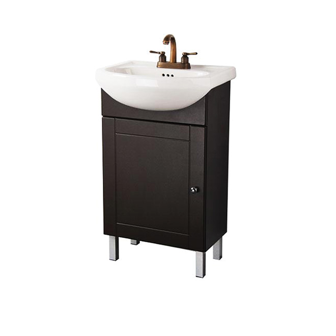 "Euro Vanity/Sink - 1 Door -  20"" x 34'' x 11'' - Chocolate"