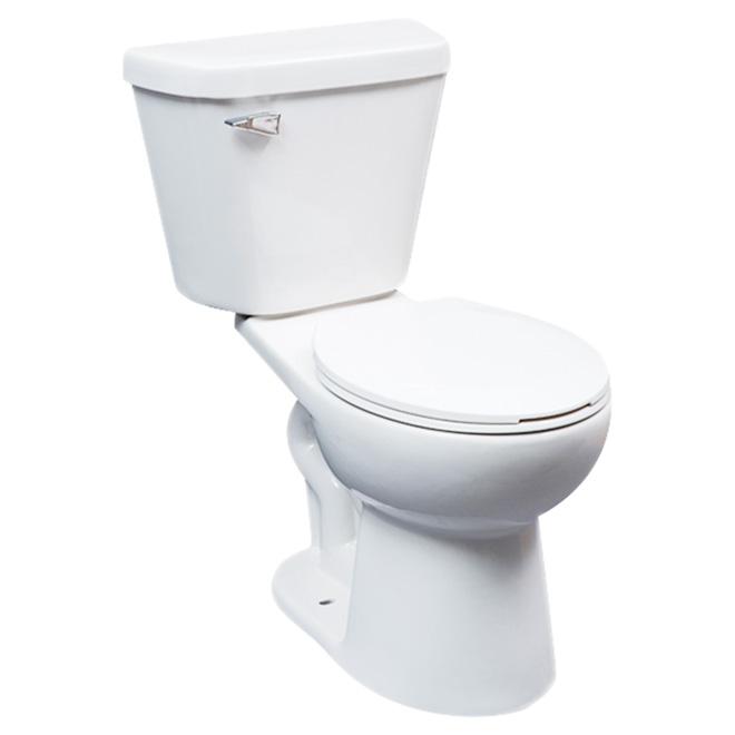 Toilette 2 pièces à cuve ronde, hauteur confort, blanc