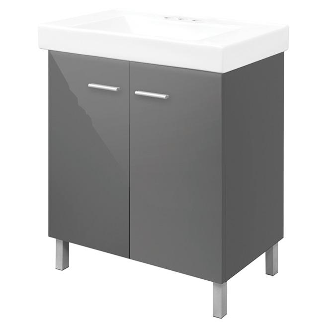 Vanity with 2 Doors - High-Gloss Grey