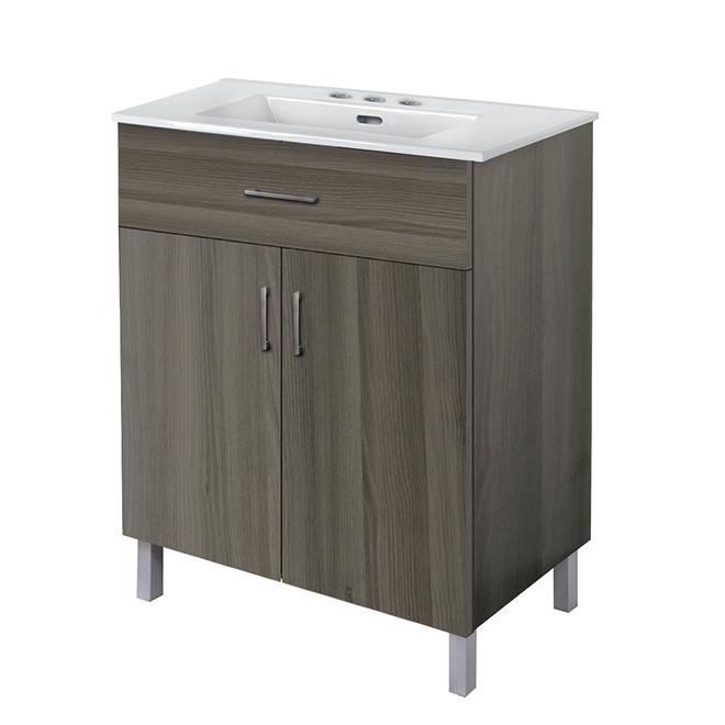 """Meuble-lavabo à 2 portes, 30"""", bois gris"""