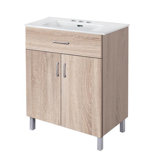 "Meuble-lavabo «Marsala», 2portes, 30"", bois naturel"