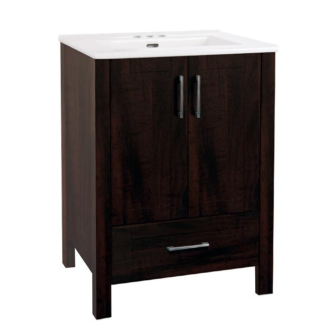 """Meuble-lavabo 2 portes/1 tiroir, 24"""", espresso"""