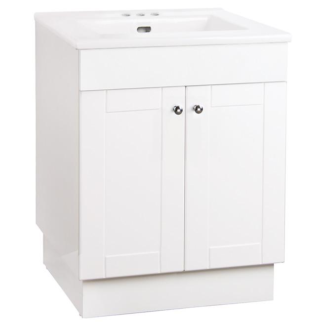 Meuble Lavabo avec comptoir, 2 portes, 24'', blanc lustré