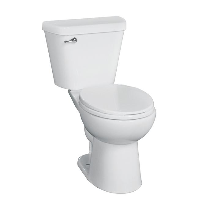 Toilette haute efficacité, 2 pièces, 1 chasse, 4,8 l, blanc