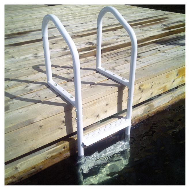 """White Steel Dock Ladder - 48"""" x 17"""" x 4"""""""