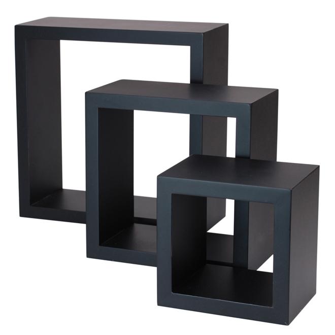 """Tablettes carrées «Cubbi», MDF, 5"""", 7"""" et 9"""", noir"""