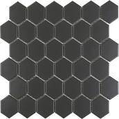 Mono Serra Black Hexagon Wall Porcelain Mosaic - 12-in x 12-in 9.69 sq.ft. per Box