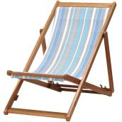 Outdoor Folding Chair - Blue and Taupe