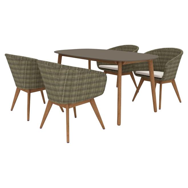 Patio Dining Set - Copenhague - Brown/Beige - 5 Pieces