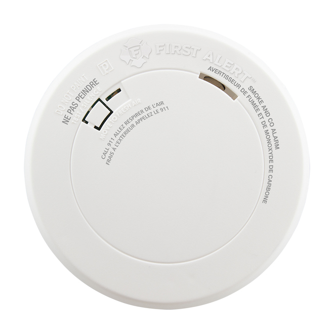 Avertisseur de fumée et de monoxyde de carbone First Alert, plastique, blanc