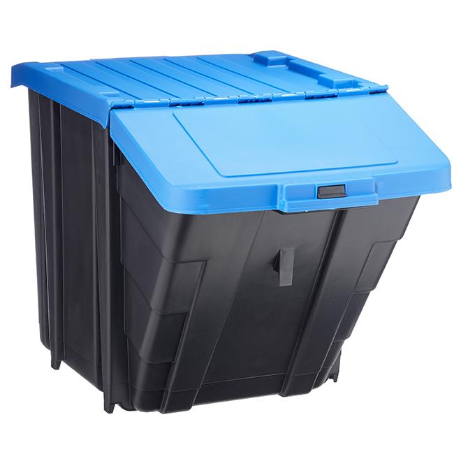 Bac de rangement empilable, 61 l, noir et bleu