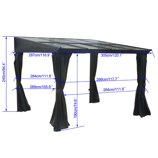 Wall Shelter with Curtains and Netting - 9.75-ft x 10-ft - Grey