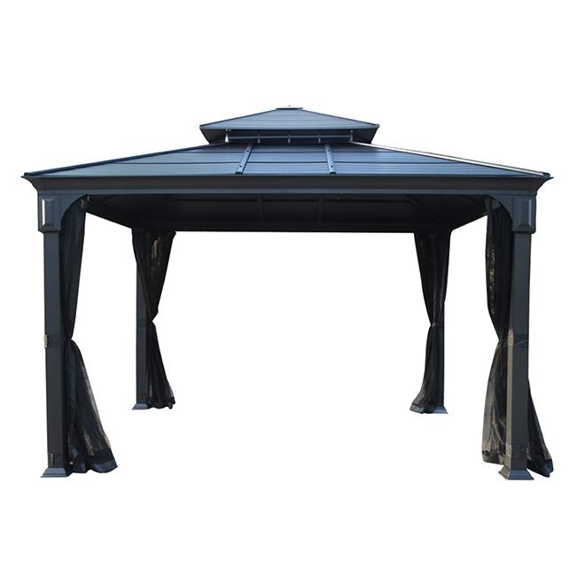 Abri-soleil avec toit en acier, 10' x 12', noir