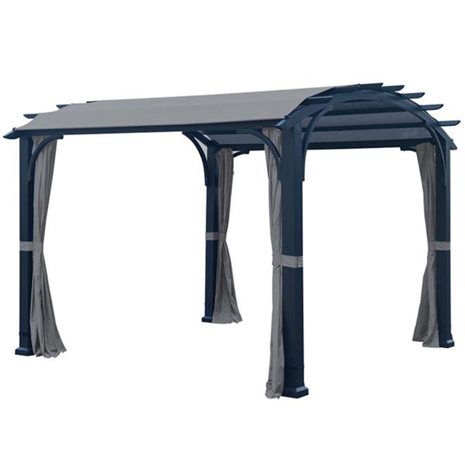 Curved Roof Pergola - 10-ft x 10-ft - Black