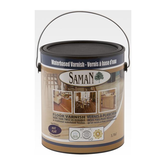 Saman Water-Based Urethane Floor Varnish - Self-Leveling - Crystal Clear - Matte - 3.78-L
