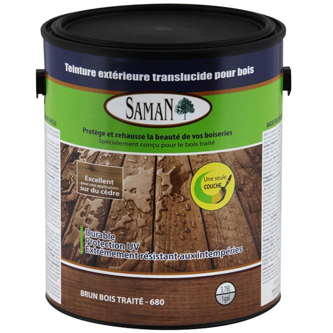 Teinture extérieure translucide pour bois, brun