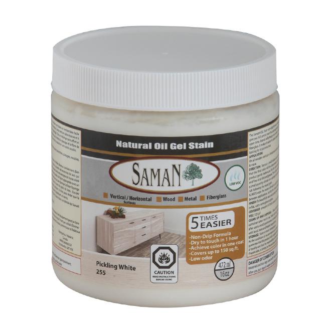 SamaN Natural Oil-based Gel Stain - White - Single Coat - 472 mL