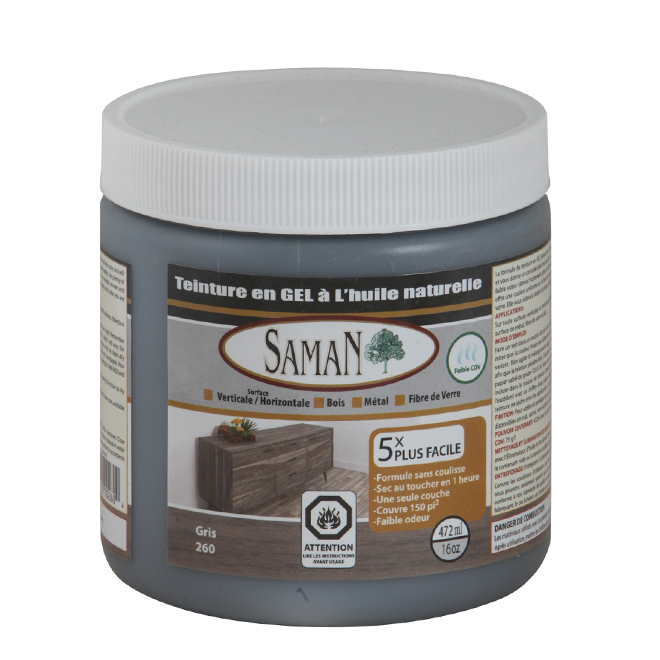 Teinture en gel à l'huile naturelle pour intérieur de Saman, à base d'huile, gris, faible COV, 472 ml