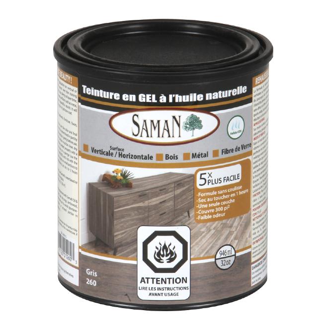 Teinture en gel à l'huile naturelle pour intérieur de Saman, noyer foncé, gris, 946 ml