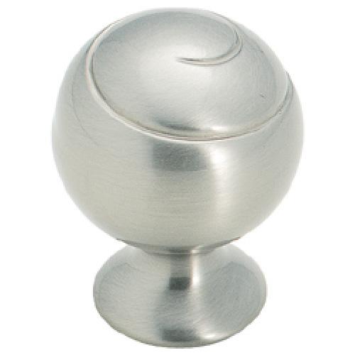 Bouton en métal fini nickel satiné