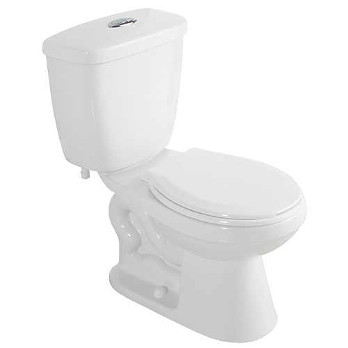 Round front 2 piece toilet 4 l 6 l white rona for Lesso kitchen and bath