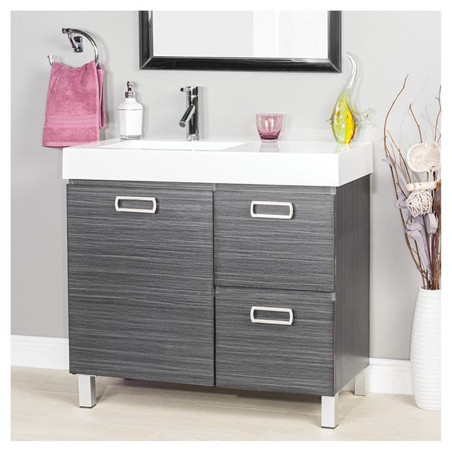 meuble lavabo turenne 1 porte et 2 tiroirs gris fonc rona. Black Bedroom Furniture Sets. Home Design Ideas