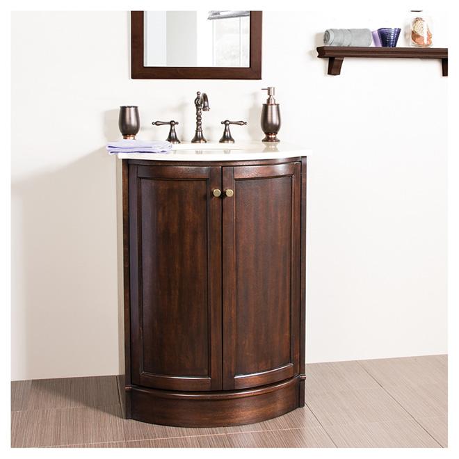 Meuble-lavabo « Catryn » à portes arrondies, noyer foncé