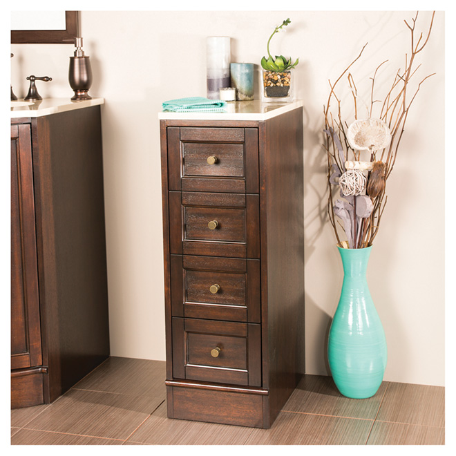 """Catryn"" Bathroom Cabinet - 3 Drawers - Dark Walnut"