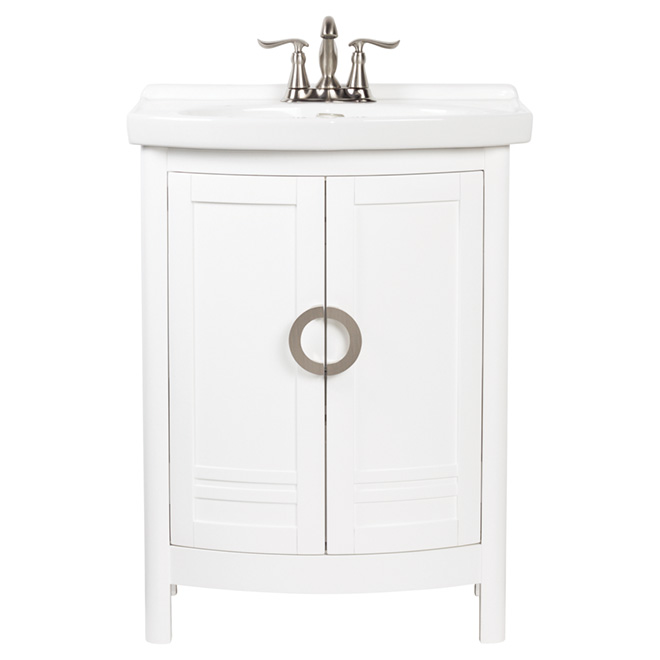 Meuble-lavabo Lomar, 2 portes et 1 tiroir, blanc