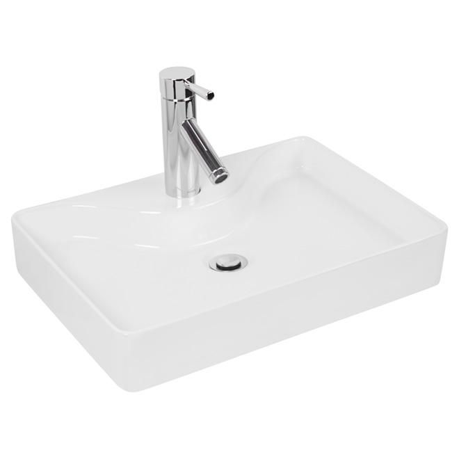 Lavabo vasque Attessa, argile, blanc