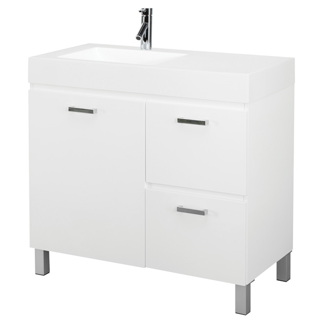 Vanity - 1 Door, 2 Drawers - White