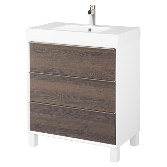 Meuble-lavabo à 3 tiroirs, noyer/blanc