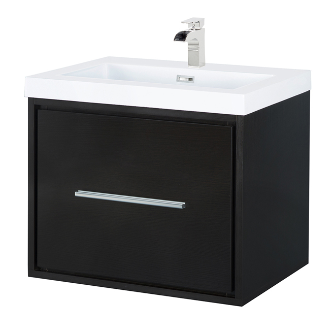 "Meuble-lavabo mural, Carlington, 24"", espresso"